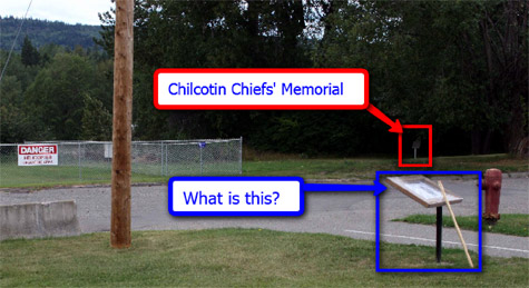 Both memorial plaques for the Tsilhqot'in Chiefs at Quesnel.