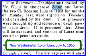 Paper clipping of the sentence handed down at Ahan's trial.
