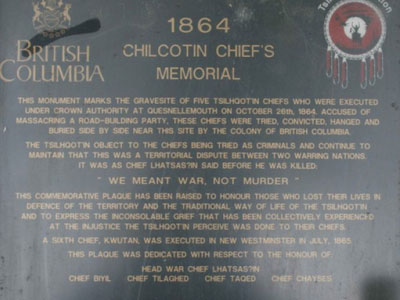 Tsilhqot'in War memorial plaque