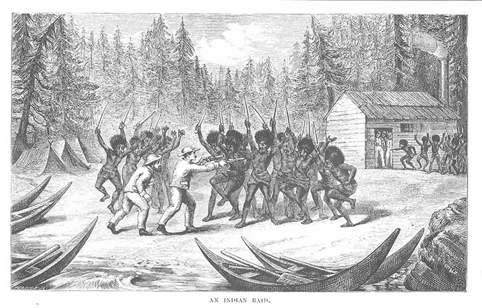 This illustration from Poole's Memoir shows the kind of confrontation, with settlers heavily outnumbered, that the introduction of smallpox served to avoid.